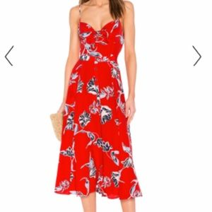 Yumi Kim 100% Silk Red Floral Tie Front Midi Dress
